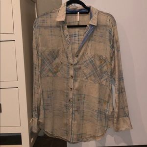 Free People Light Button Down Top